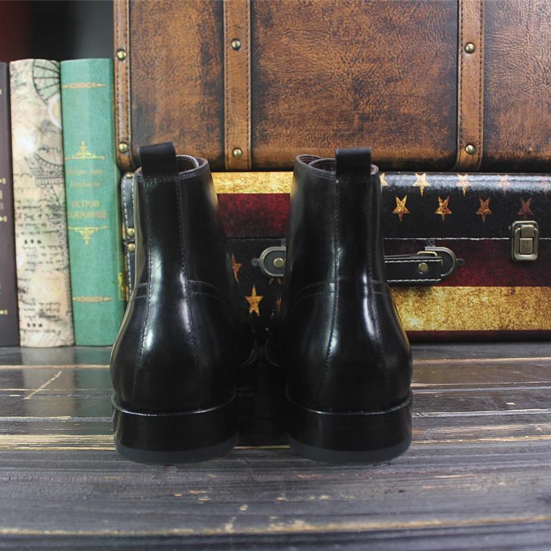 Sipriks hommes de luxe conception de grandes bottes à bout rond importé italien en cuir de veau robe cheville bottes noir haut à lacets botte de Cowboy - 3