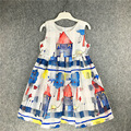 2016 Girl Sleeveless Print Dress princess dress elsa dress christmas dress girl