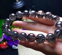 FREE SHIPPING Natural Black Rutilated Quartz Crystal Beads Bracelet 11 12mm AAA