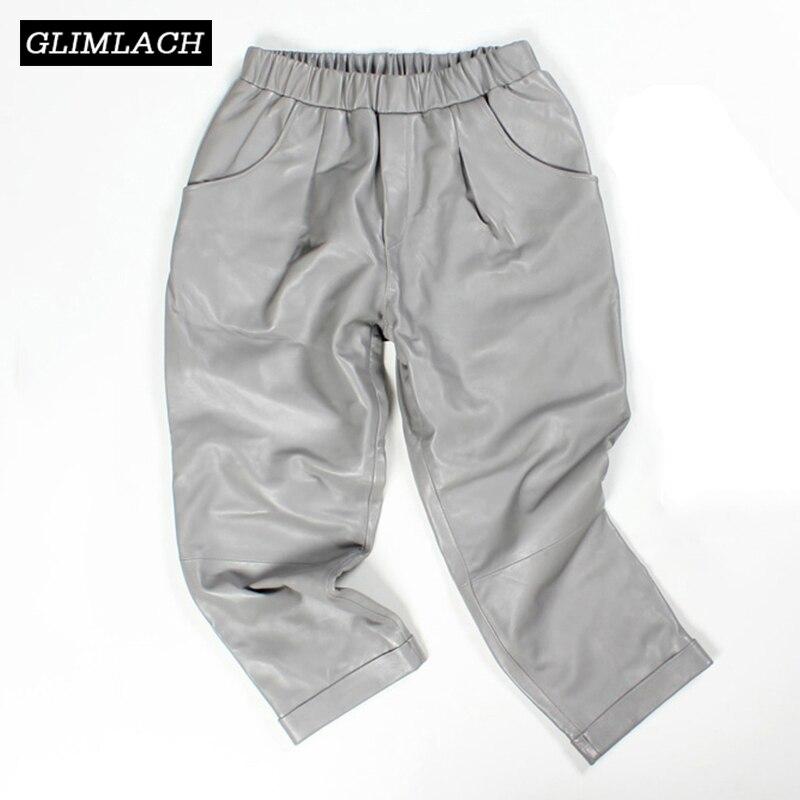 2019 Spring Leather Pants Women Harem Elastic Waist Pants Streetwear Vintage Women Trousers Casual Sexy Genuine Leather Pants