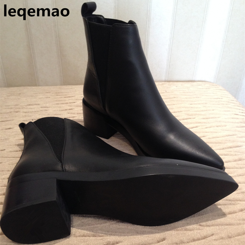 Hot Sale 100% Real Genuine Leather Ankle Boots Women Pointed Toe Slip-on Martin Boots Med Heels High Quality Shoes Black Leqemao on sale 100