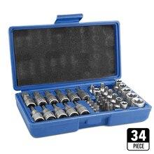34 قطعة الكروم الفاناديوم الصلب ضغط دفعة كم مجموعة مجموعات SleeveHead آلة المحرك مجموعة مقابس وجع الإناث Torx الذكور