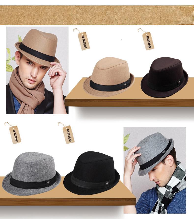vintage fedora hat black fedora hats for men wool felt hat mens hats fedoras mens fedora hats winter vintage hat jazz hat (6)