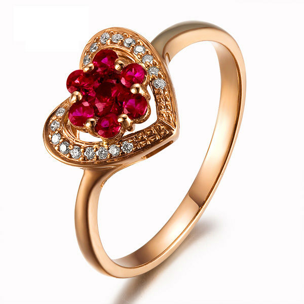 LOVE Heart Jewelry GVBORI Natural 18K Gold & Natural Ruby Red