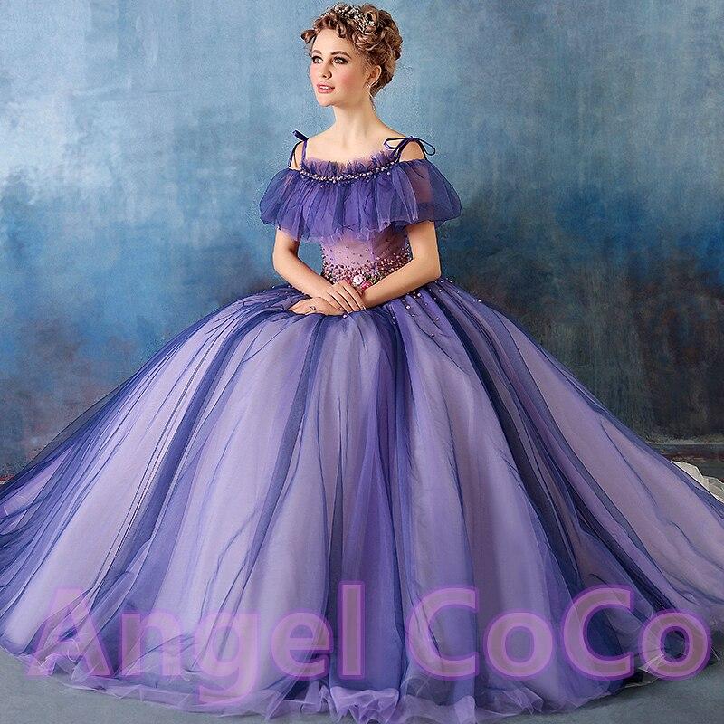 Romantic Purple Prom Dress Party Dream Retro Princess Skirt Banquet ...