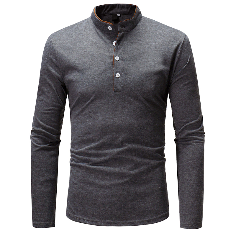 2018 New Fashion Brand Men   Polo   Shirt Solid Color Long-Sleeve Slim Fit Shirt Men Cotton   Polo   Shirts Casual Shirts XXXL