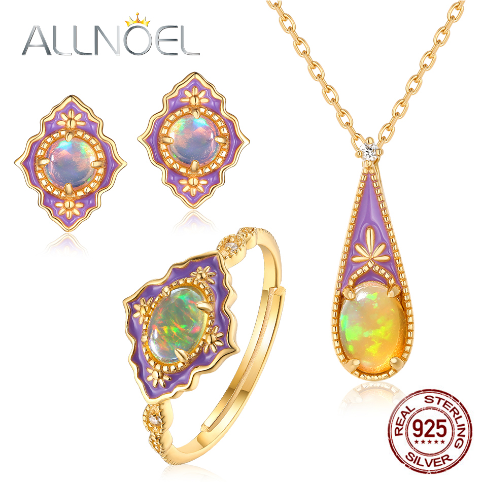 ALLNOEL 925 Sterling Silver Jewelry Sets Natural Opal Enamel Gemstone Luxury Pendants Necklace Stud Earrings Rings
