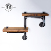 Iron Wood American Country Do the Old Retro Shelf Shelves Showcase Industrial Water Pipes Bookshelf Z7
