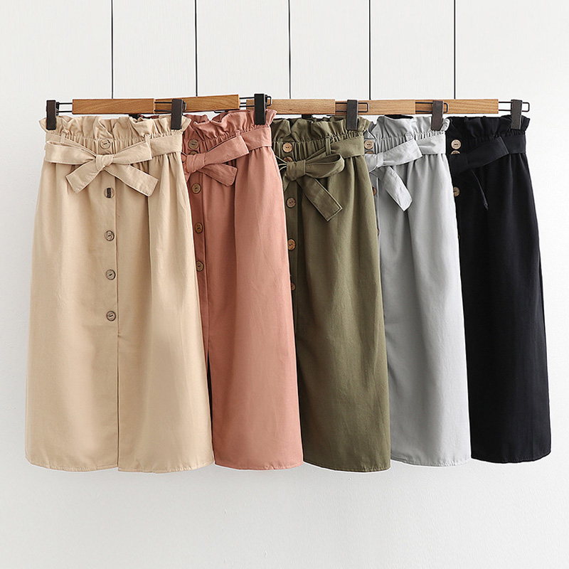 Spring Summer Midi Skirts Womens 2019 New Fashion Korean Elegant High Waist A-Line Skirt Female Beige School Skirt With Sashes