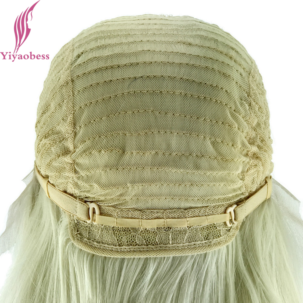 Yiyaobess Glueless Φυσική Λευκή Ξανθιά Ombre - Συνθετικά μαλλιά - Φωτογραφία 5