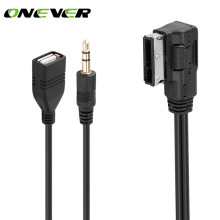 Onever Car Music AMI MMI Interface USB 3.5mm Male Aux In Cable Adapter for Audi Q5 Q7 A3 A4L A5 A1 1.5m / 5ft(China)
