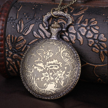 Men Pocket Watch Male Necklace Vintage Quartz Watches Birthday Islamic Carstles