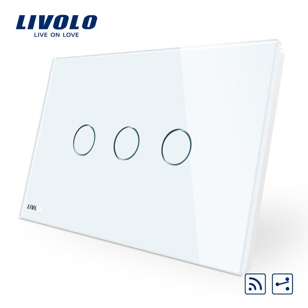 Livolo Touch Switch,AU/US Standard,VL-C303SR-11,3-Gang 2-Way Remote Touch Light Switch, Crystal Glass Panel,LED Indicator remote control wall switch us standard remote touch switch black crystal glass panel 3 gang 1 way with led indicator