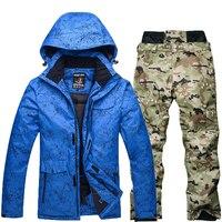 Новый стиль для взрослых лыжный костюм Мужчины Супер Теплый Водонепроницаемый куртка для снежной погоды + камуфляжные штаны Открытый Горны
