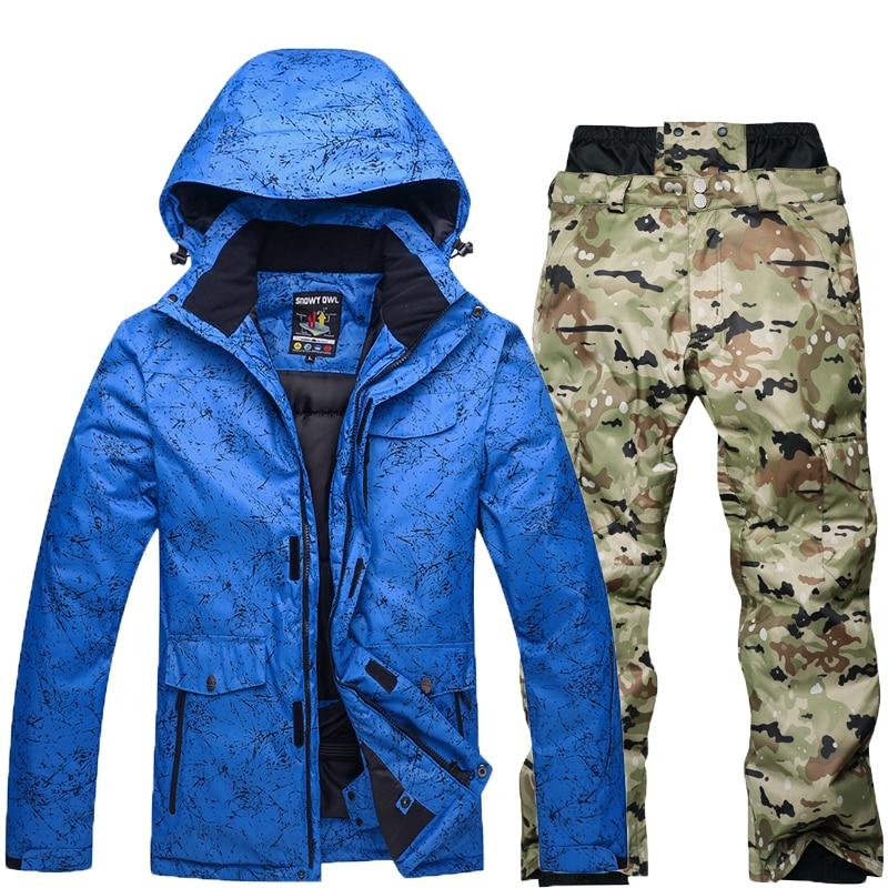 Nuovo stile Adulto tuta da sci da uomo Super Caldi stivali da neve Impermeabili jacket + Camouflage pant outdoor Mountain sci per gli uomini