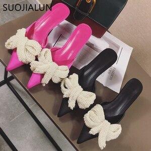 Image 4 - SUOJIALUN Women Mules Slippers Med Heel Sandals Summer Slip On Slides Brand Butterfly Loafers Flip Flops Shoes Outdoor Slipper