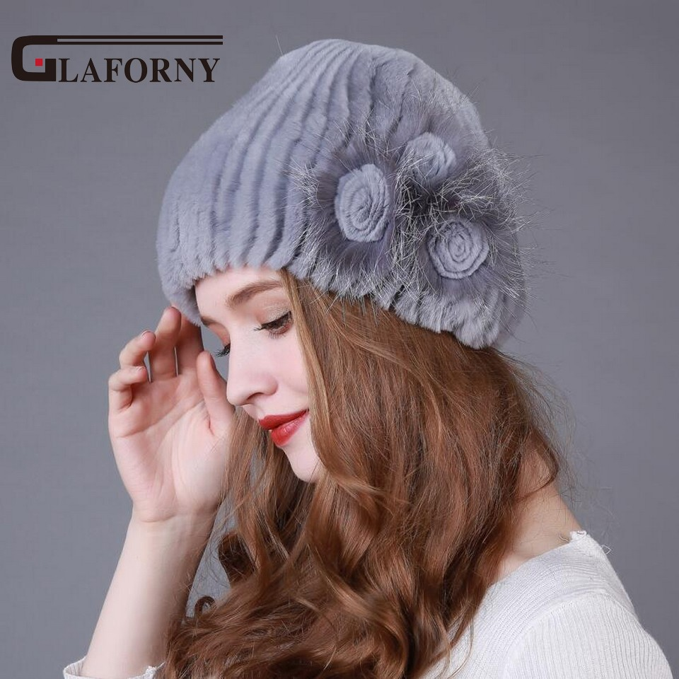 2018 Genuine Fur Hat Knitted Rex Rabbit Silver Fox Fur Caps Women Winter Fashion Fur Caps with Floral Female Hat Hot Sale