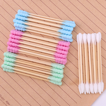 100PCS/Pack Double Head Cotton Swab Women Makeup Cotton Medical Double-head Wood Sticks Ears Cleaning Health Care Tool 1