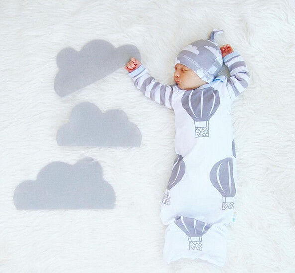 Cartoon Clouds Infant Warm Swaddle Sleeping Bag Baby Boy Autumn Sleepsuit Baby Girl Blanket Kids Hat 2Pcs Clothes Set