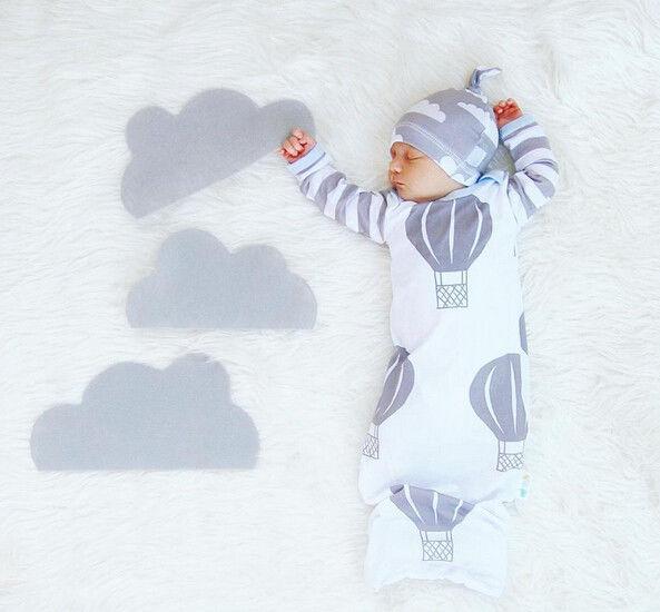 Cartoon Clouds Infant Warm Swaddle Sleeping Bag Baby Boy Autumn Sleepsuit Baby Girl Blanket Kids Hat 2Pcs Clothes Set