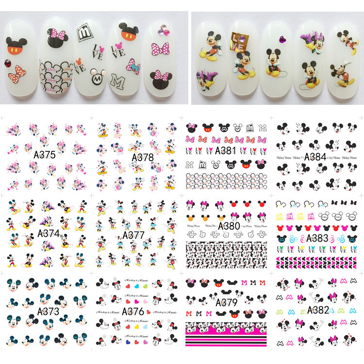12 Designs sticker Nails Art Decals Cute Mickey Mouse Pattern Water Manicure Transfers Nail Sticker DIY Nail Art Tips Decoration
