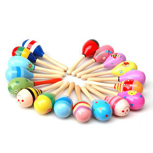 New Arrive Small Wooden Sand Hammer Wooden Rattle Baby Toys Cartoon Vocal Musical Instruments MG76
