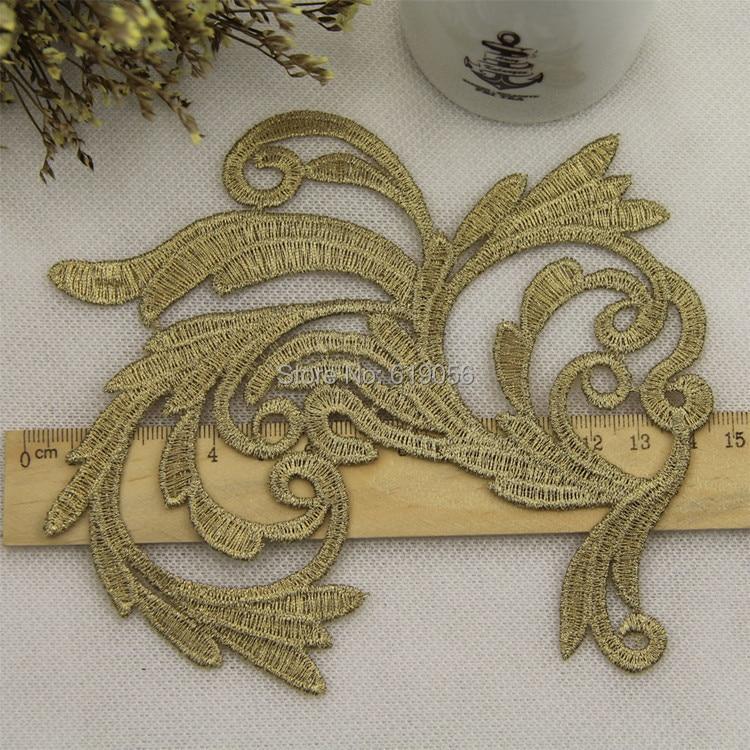 LP-JA30 бродерия цветя лепенки златни - Изкуства, занаяти и шиене - Снимка 2