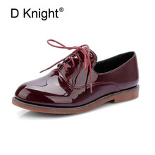 Fashion Patent Leather Lace Up Women Flat Oxford Shoes Vintage England Style Round Toe Flats For Women Ladies Casual Flat Shoes hot sale carved british style oxford shoes for women fashion sweet flat lace up women oxfords ladies casual four seasons shoes