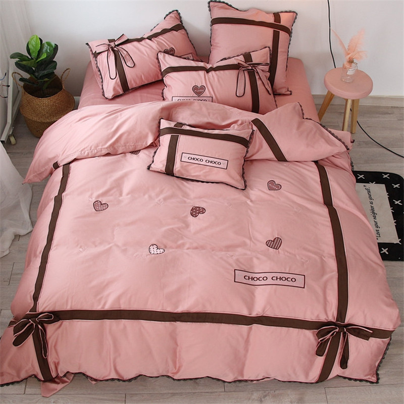 Korean Princess Style Pink Bowknot Black lace 60S Cotton Bedding Set Duvet Cover Bed Linen Bedsheet Pillowcase King Queen Size