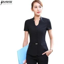 Zomer Mode Business Vrouwen Broek Pak Formele Slanke Korte Mouwen V-hals Blazer En Broek Office Dames Werkkleding Uniform