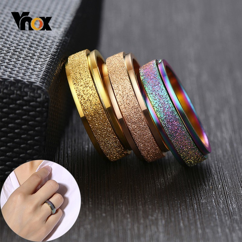 Vnox Spinner-Ring Sandblasting Stress-Release Rotatable Women Casual 6mm for Bands