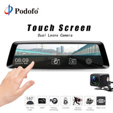 "Podofo 10"" Touch FHD 1080P Dual lens Car Video Recorder Streaming Media Rearview Mirror G-sensor Registrar With Backup Camera"