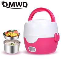 DMWD MINI Rice Cooker 2 Layers Electric Heating Lunch Box Bento Meal Steamer Stainless Steel Food Container Meal Warmer EU Plug