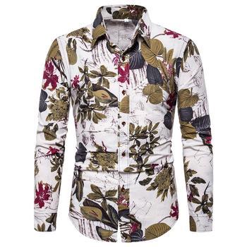 Linen Shirts Men Long sleeve Floral Blouse Mens Clothing Casual Flower Slim Plus Size New