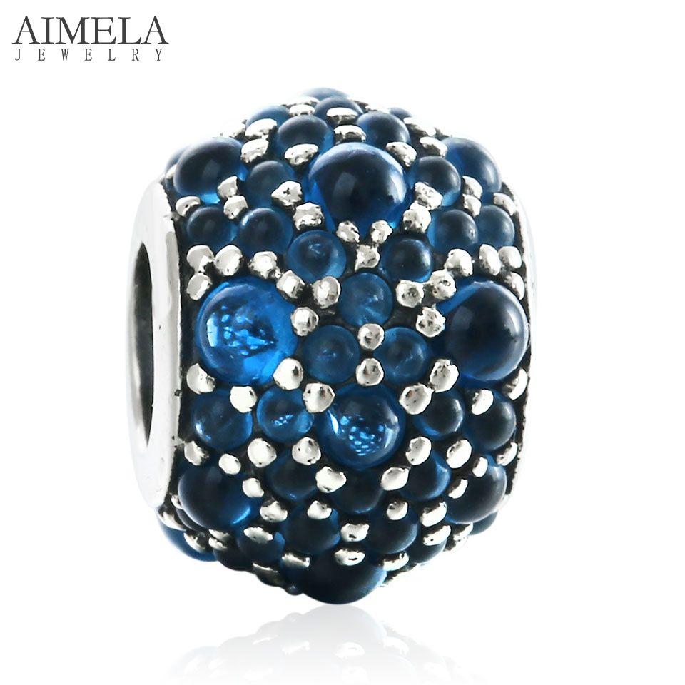 98f57ed40 ... AIMELA 2016 Winter London Blue Crystal Beads Fit European Charm  Bracelet 925 Silver Shimmering Droplets Beads