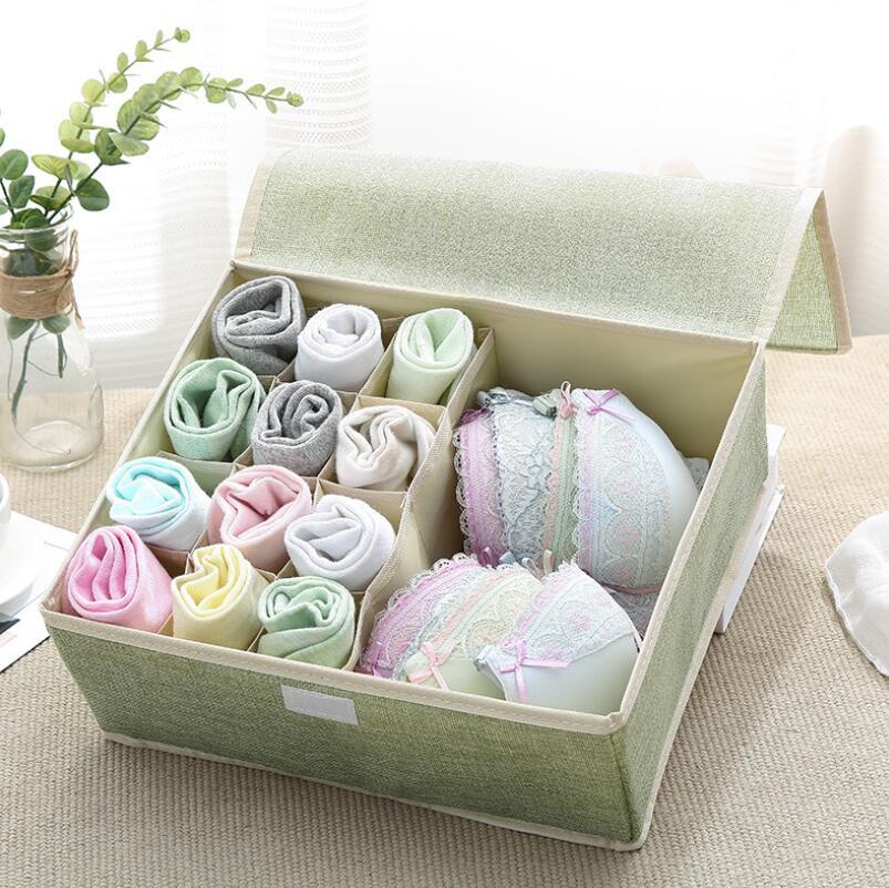 Image 4 - 13 Grid Drawer Divider Travel Organizer Houseware Supplies Underware Storage Box Closet Organizers Boxes Bra Case Cotton Linen-in Drawer Organizers from Home & Garden