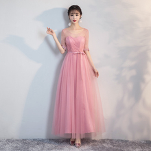 Bridesmaid Dress Wedding Dresses Elegant Red Bean Pink Colour Long Dress Back of Bandage red bean pink colour bridesmaid dress long dress wedding one shoulder dress back of bandage