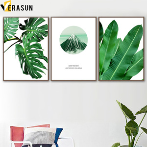 Image 2 - Monstera Palm Leaves Mountain Landscape Wall Art Canvas Painting Nordic Posters And Prints Wall Pictures For Living Room Decor