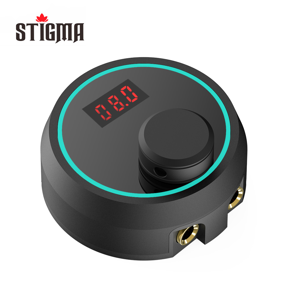 Stigma Digital Tattoo Machine Power Supply With Knob Adjustable Intelligent Light New P177 Black Color 2-12V