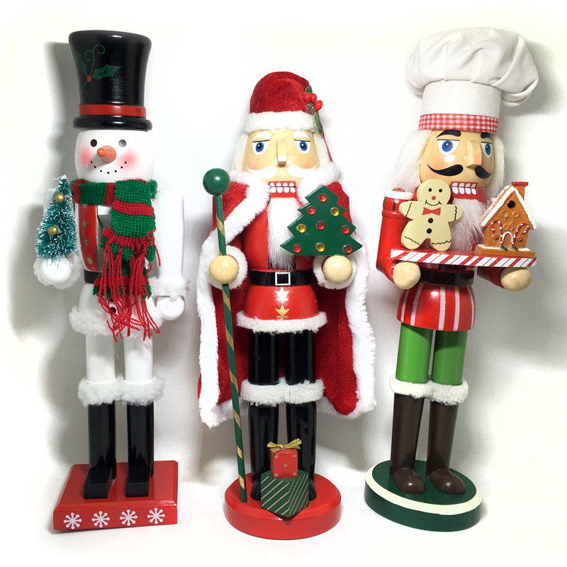 HT124 free shipping 38cm Santa Claus Snowman Gingerbread Chef Nutcracker Puppet Combination Children Christmas Toys Gift xmas decoration santa claus gift deer carriage snowman wall sticker