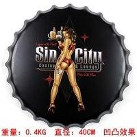 Sin City Casino Lounge 40cm Sexy Lady Vintage Metal AD Sign Tin Signs Bar Car Garage