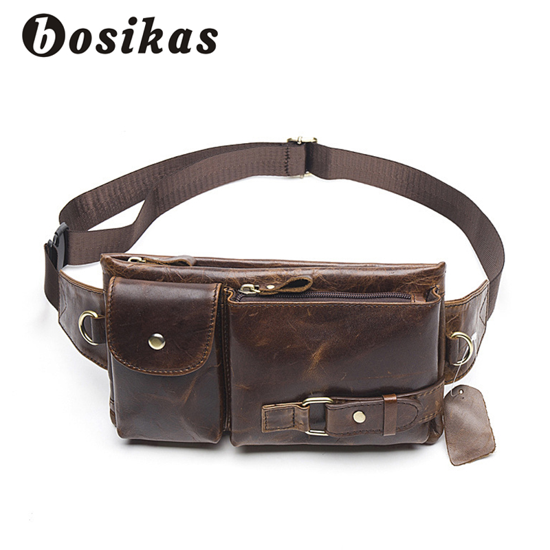 BOSIKAS Men Waist Bag Genuine Leather Men Bags Phone Case Cover Travel Money Belt Bag Leather Waist Pack Fanny Pack Waists Pouch