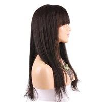 Eseewigs свет яки Full Lace парики человеческих волос с челкой Glueless бразильского Волосы remy парик для афро американских прямые волосы парик