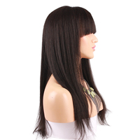 Eseewigs Light Yaki Full Lace Wigs Human Hair With Bangs Glueless Brazilian Remy Hair Wig For African American Straight Hair Wig
