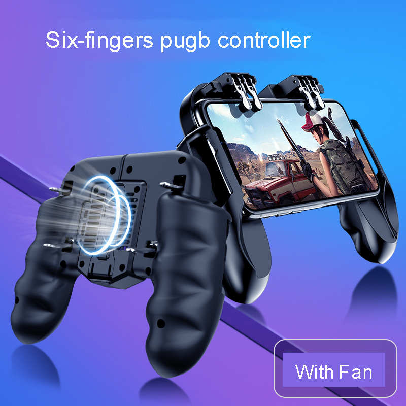 Six-fingers Pubg Controller Dzhostik Gamepad Pubg Mobile Trigger L1R1 Shooter Joystick Game Pad Cooler Fan with Power for phone