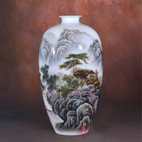 Jingdezhen ceramics Li Dongming pastel landscape township people living room decoration of Home Furnishing fashion vase
