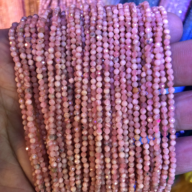 5 strings Lot Faceted Tiny Gem Beads 100% Natural Rhodochrosite Beads 2mm 3mm Round,Faceted Spacer Tiny Beads,15.5