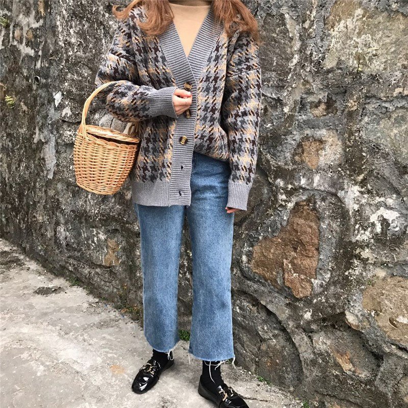 Danjeaner Autumn Winter Lattice Knitted Long Cardigans Loose Casual Preppy Style Thick Sweaters Jumpers Women Knitting Jackets 13