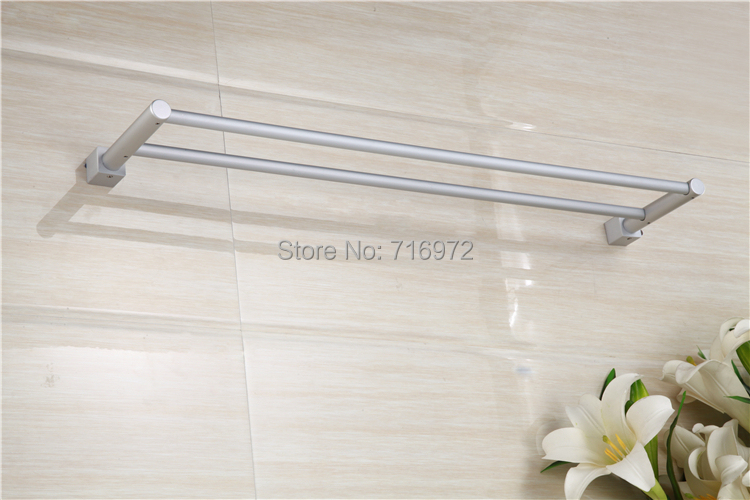 Free shipping wall mounted space aluminium double towel for Double towel rails for bathrooms