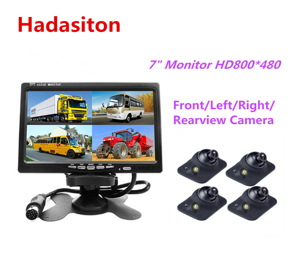 7 inch Car Monitor Headrest monitor 4 split screen 4 AV input Remote control Front Left